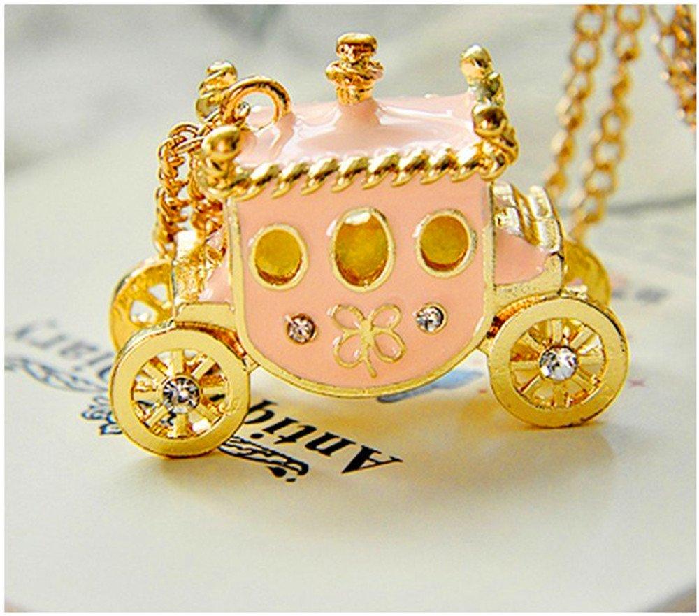 Retro Sweet Pink Rhinestone Pumpkin Cart Sweater Chain Necklace