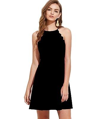 15c12be0ef Romwe Women s Sweet Scallop Sleeveless Flared Swing Pleated A-line Skater  Dress Black L