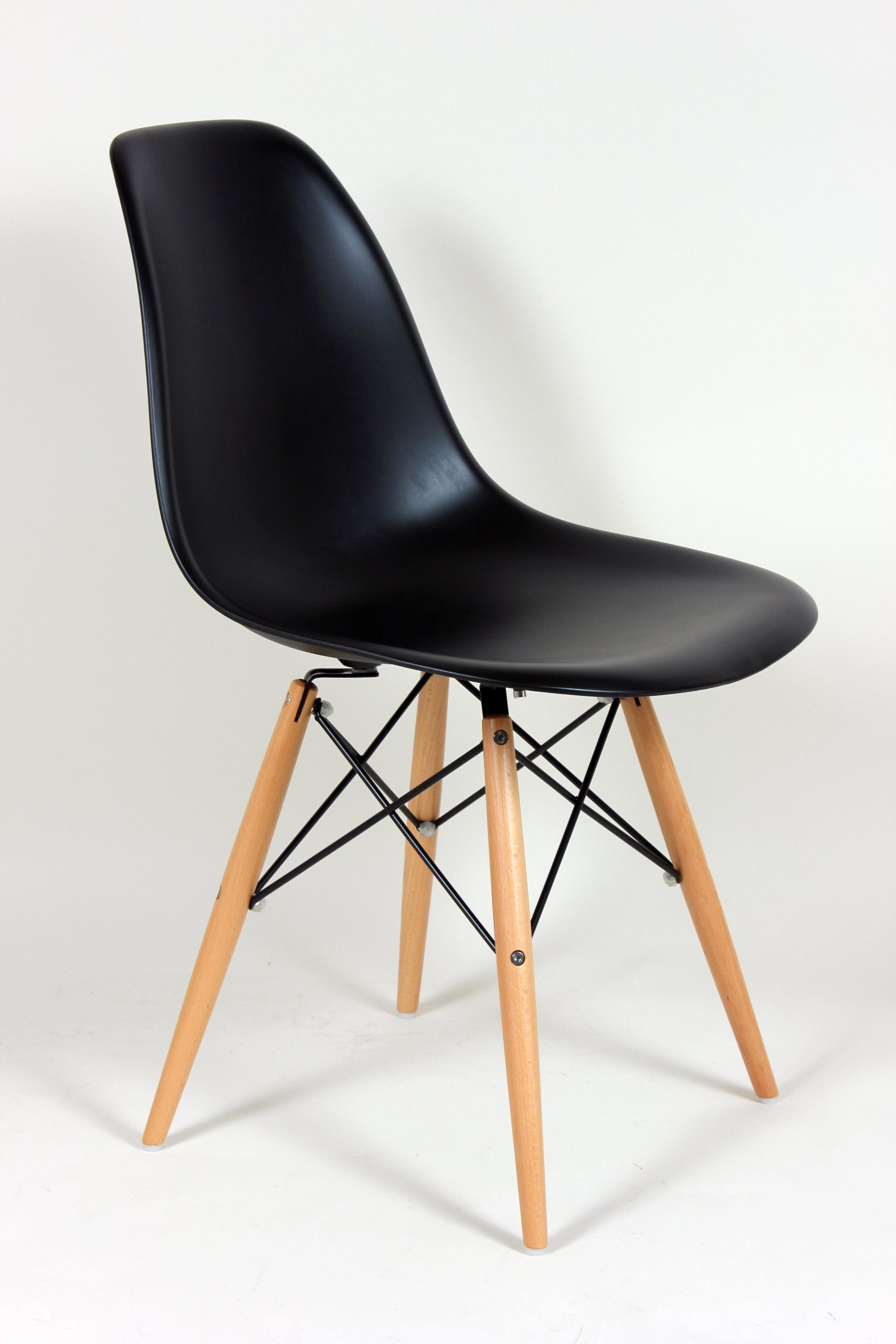 mid century eames style dsw dining chair w wooden dowel base