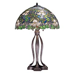 Meyda Tiffany Trillium and Violet Collection Wildflower and Jeweled Stained Glass Table Lamp