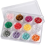 WOKOTO 12 Pcs 3D Rhombus Sequins For Nail Art Glitter Multicolor Sparkling Mermaid Manicure Paillette Set Nail Sequins Rhombus Cell Phone Decoration