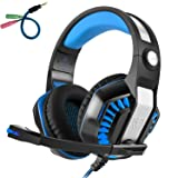 Beexcellent GM-2 Pro Gaming Over-Ear Headset with Mic, LED Lights and Volume Control Stereo Bass, Noise Cancelling, 3.5mm, for PS4 Xbox One, Laptop, PC, Tablet, Most Smartphones (Blue) (Color: Blue)