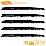 TAROSE 9-1/2-Inch 5 TPI HCS Reciprocating Saw Blades Set For Fast Tree Cutting And Pruning, 5-Piece (Tamaño: 9