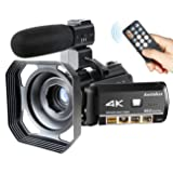 Video Camera Camcorder Ansteker 4k Ultra-HD Recorder 24MP 30X Digital Zoom WiFi Remote Control Night Vision with External Microphone and Lens Hood