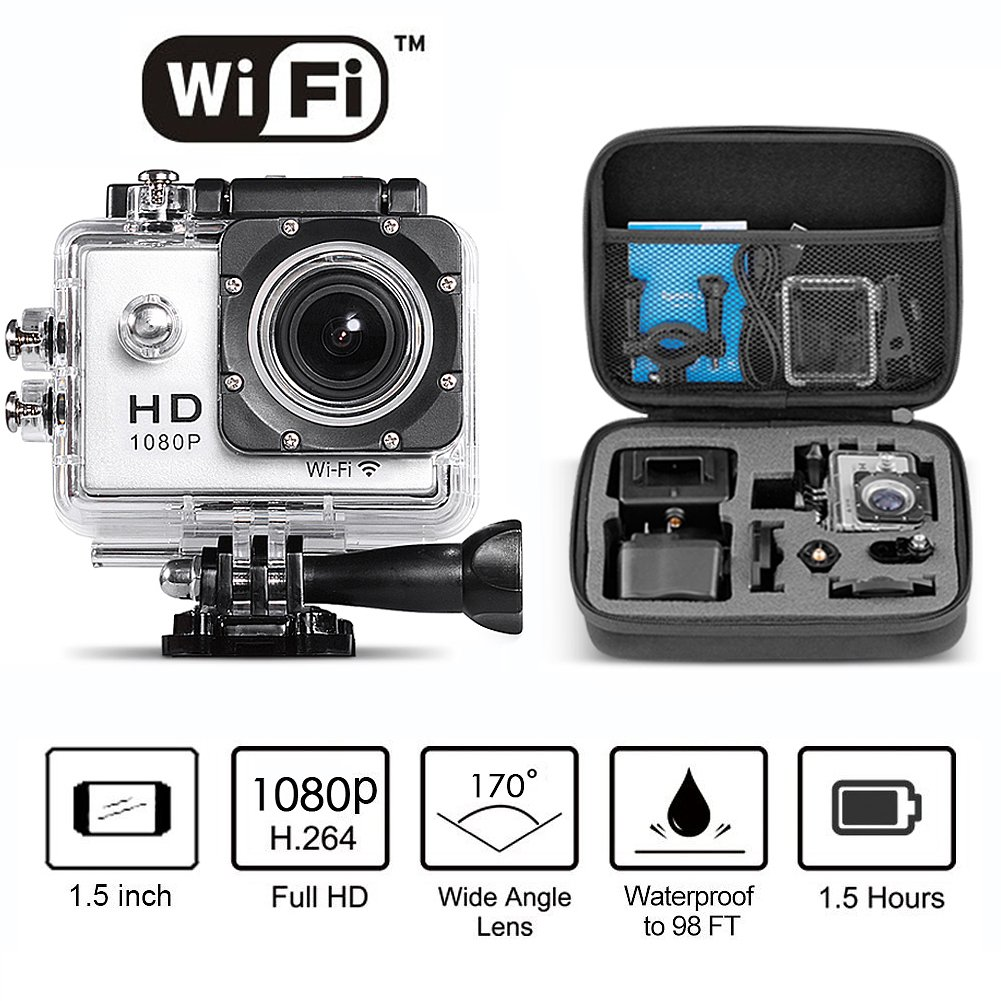 "Neewer® 1080P H.264 WIFI Sports Camera with 1.5Inch LCD Display 12MP 170 Degree Wide Angle+ Full HD Lens Waterproof Action Camera Car Recorder DVR Cam Include Various Accessories (Silver) + 8.7*7*2.6""  ..."