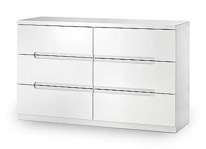 Julian Bowen Manhattan High Gloss 6-Drawer Wide Chest, Wood, White