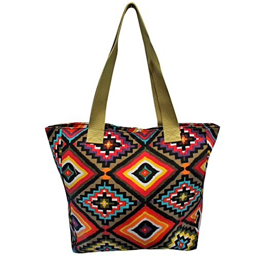 Luxury Divas Aztec Printed Bright & Colorful Canvas Beach Tote Bag