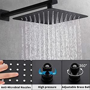 Shower System, Wall Mounted Shower Faucet Set for Bathroom with High Pressure 10 Rain Shower head Handheld Shower Head Set, Pressure Balance Valve with Trim and Diverter, Matte Black (Color: Matte Black, Tamaño: 10 Inch)
