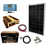 WindyNation 100 Watt Solar Panel Kit + 1500W VertaMax Power Inverter + 100ah AGM Deep Cycle Battery for RV, Boat, Off-Grid 12 Volt (Tamaño: 100W Kit + Inverter + 100ah Battery)