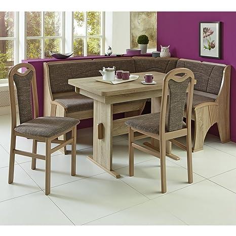 Eckbank Eckbankgruppe Essgruppe KONSTANZ Essecke Tisch 2 Stuhle Eiche Dekor