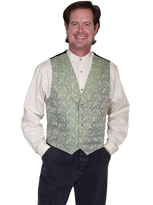 Scully Rangewear Mens Green Polyester Paisley Classic Shawl Lapel Vest  AT vintagedancer.com