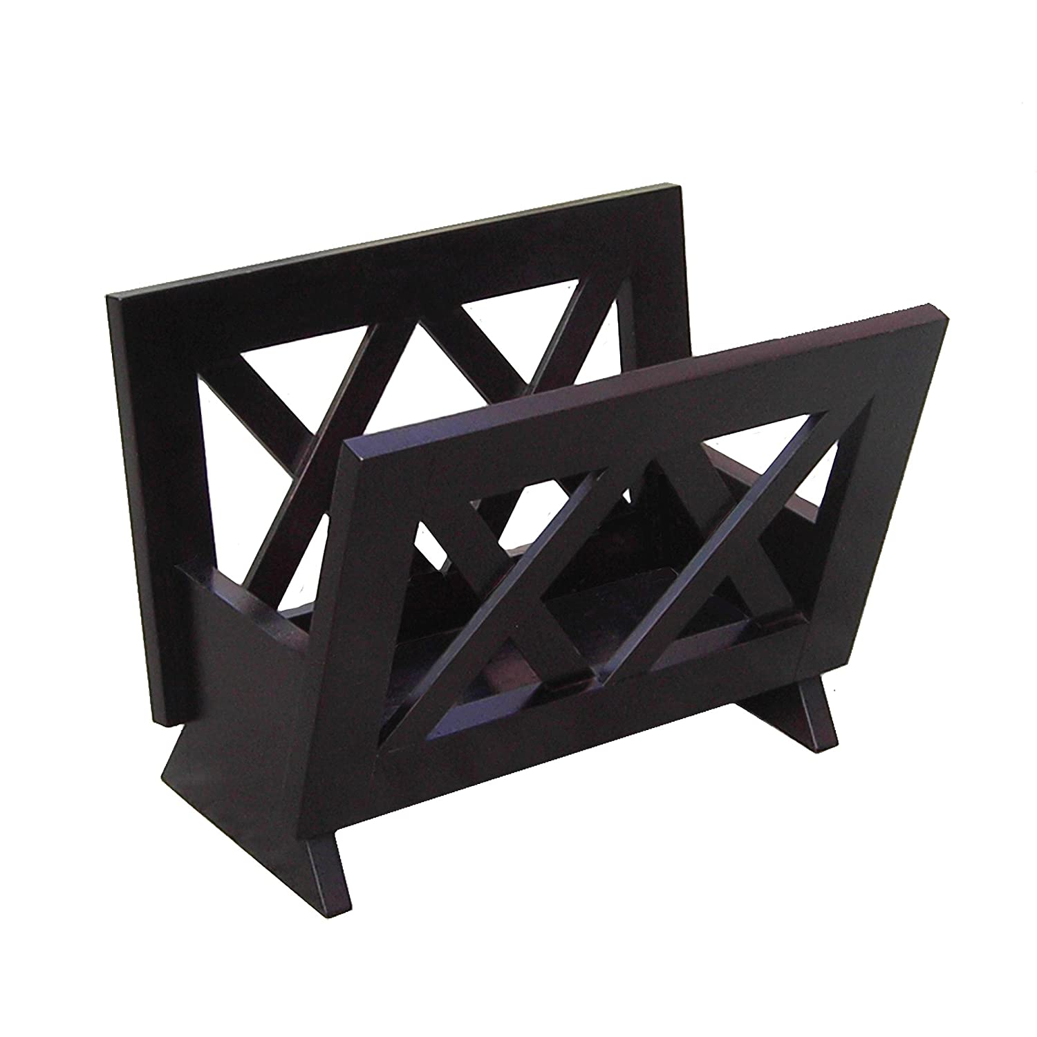 Wood Magazine Rack ~ Oceanstar m contemporary solid wood magazine rack