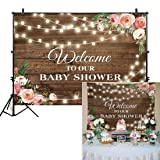 Allenjoy 7x5ft Rustic Floral Wooden Backdrop Wrinkle Free Baby Shower Bridal for Studio Photography Pictures Brown Wood Floor Flower Wall Background Newborn Birthday Party Banner Photo Shoot Booth (Color: rustic baby shower, Tamaño: 7'x5' Durable ThinFabric)