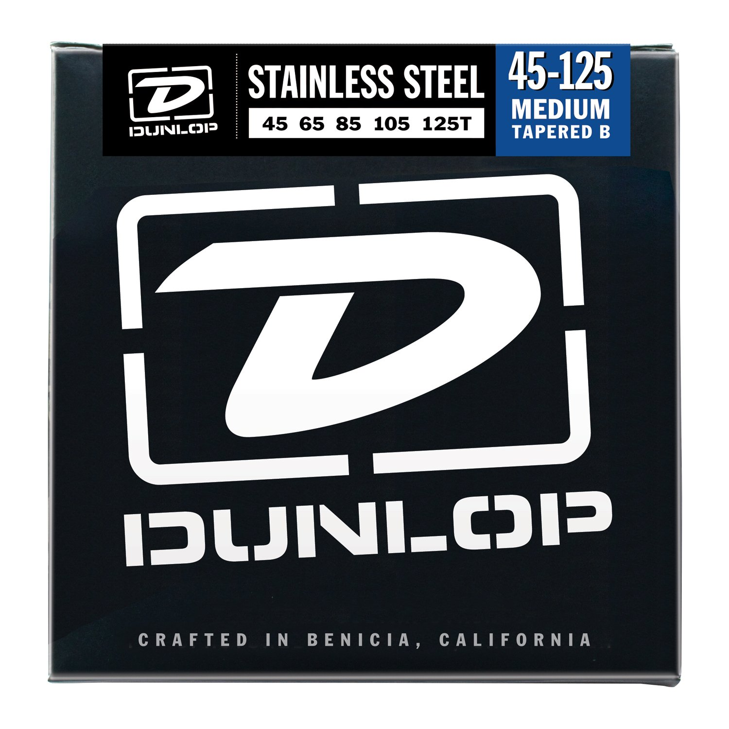 Dunlop DBS45125T Stainless Steel Bass Strings, Medium 5-String w/ Tapered B, .045-.125, 5 Strings/Set rotosound rs66lc bass strings stainless steel