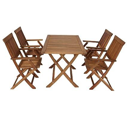 Gartengarnitur TOBAGO, 5tlg, Klapptisch + 4 Stuhle, Akazien Holz