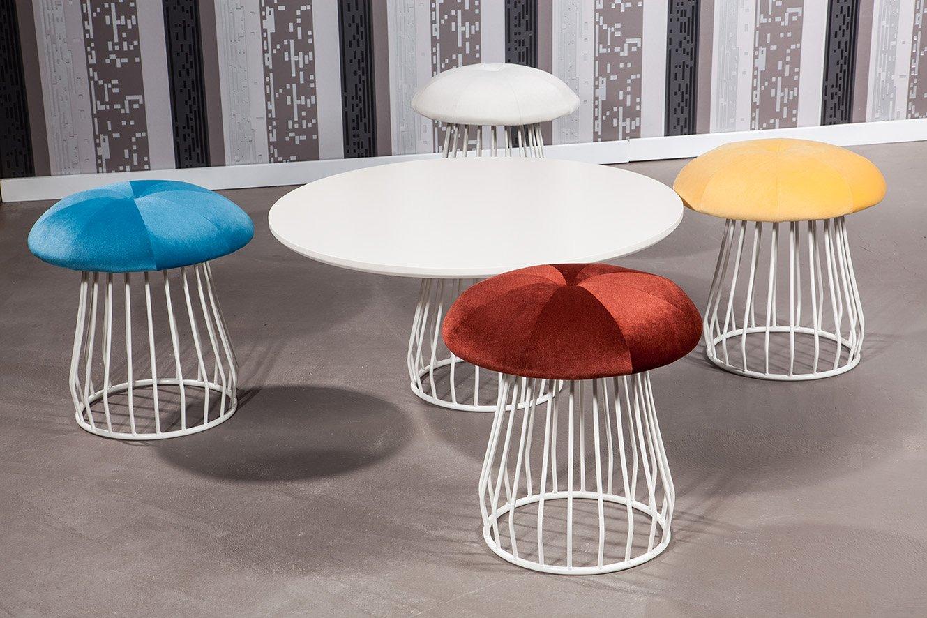 Sitzgruppe Mushroom, Retro Design, 5 teilig, bunt, (B x H x T) 46 x 46 x 35 cm Sitz in rot, türkis, gelb und weiß günstig kaufen