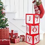 Christmas Decorations Large Red Transparent Joy Box Joy Blocks Decorations for Holiday Party Decorations, Home Decor, Fireplace Decor by QIFU (Color: Red Joy Blocks)