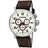 Wenger Attitude Chrono Beige Dial Leather Strap Men's Watch 010343103 (Color: Brown)
