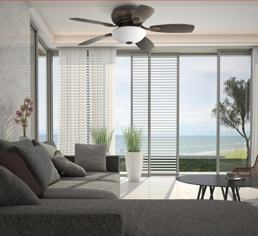 "44"" Casa Habitat Modern Hugger Ceiling Fan with Light LED Dimmable Oil Rubbed Bronze White Glass for Living Room Kitchen Bedroom Family Dining - Casa Vieja"