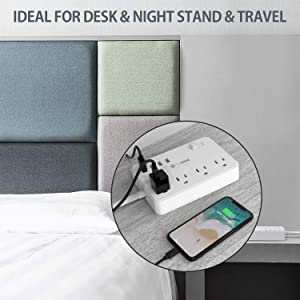Power Strip with USB, Surge Protector with Multi Plugs 4 USB Ports and 10A 5ft Extension Cord, Widely Spaced Outlets Extendable Stand, Compact USB Power Strip for Desktop, Hotel and Office (White) (Color: White)