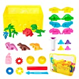Pandapia 26 PCS Play Dough doh Tools Playsets with Dinosaur Molds Cutters extruders for Dino Party Favor Supplies Classroom Prizes (Color: multicolored)