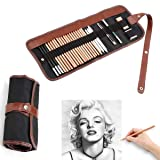 Soosee 29 Pieces Professional Sketching & Drawing Art Tool Kit with Graphite Pencils, Charcoal Pencils, Paper Erasable Pen, Craft Knife-Lightwish (Without Sketchbook, Canvas Rolling Pouch) (Color: Grey)