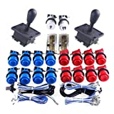 WINIT Classic Arcade Game DIY Parts for Mame USB Cabinet 2x Zero Delay USB Encoder + 2x 8 Way Arcade Joystick + 18x Classic Arcade Push Button for 2player USB Mame Project - Blue & Red Color Kits