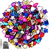 JPSOR 600 Pcs Gems Acrylic Flatback Rhinestones Gemstone Embellishments, 6 Shapes, 6-13mm, with Tweezers and Bag (600 Pcs) (Color: 600 Pcs)