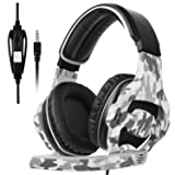 SADES SA810 New Updated Xbox One Headset Over Ear Stereo Gaming Headset Bass Gaming Headphones with Noise Isolation Microphone for New Xbox One PC PS4 Laptop Phone(Camouflage) (Color: black and Camouflage)