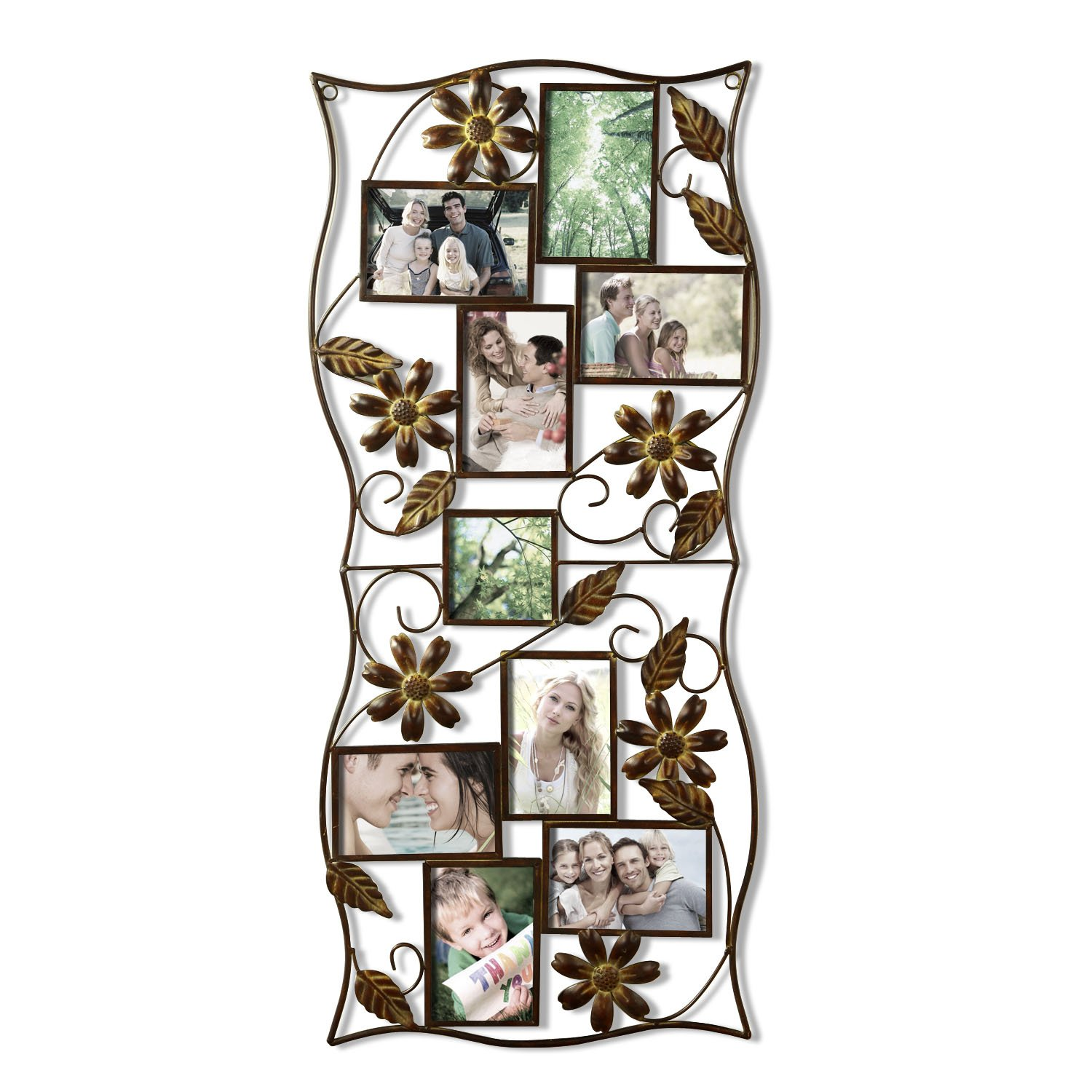Adeco 9 opening 4x6 decorative iron wall hanging collage for Unique wall frames