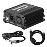 Aokeo 48V Phantom Power Supply Powered by USB plug in, included with 8 feet USB Cable, BONUS + XLR 3 Pin Microphone Cable for Any Condenser Microphone Music Recording Equipment (Color: USB)