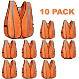 XSHIELD XS0008-10,High Visibility Safety Vest with Silver Stripe,ANSI Class Unrated,Universal Size,Pack of 10 (Orange) (Color: Orange)
