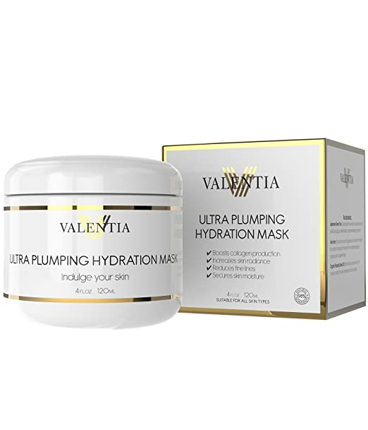 Ultra Plumping Hydration Mask By Valentia - With a Blend of Amino Acids and Botanical Hyaluronic Acid - 4 Oz