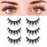 BEPHOLAN 3 Pairs False Eyelashes Synthetic Fiber Material| 3D Faux Mink Lashes| Natural Round Look| Soft & Lightweight| Reusable| 100% Handmade & Crue