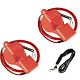 Fox 40 Classic Loud Pealess Official Referee, Sports Coach, Lifeguard Whistle + Breakaway Lanyards | 2pk Bundle + Koala Lanyard, Red (Color: Red, Tamaño: 2 Pack)