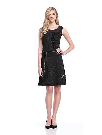 Desigual New - Robe - Sans Manches - Femme - Noir (Negro) - FR: 46 (Taille fabricant: XXL)
