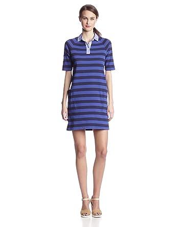 Steven Alan Women's Rugby Shirt Dress, Navy/Blue, Petite