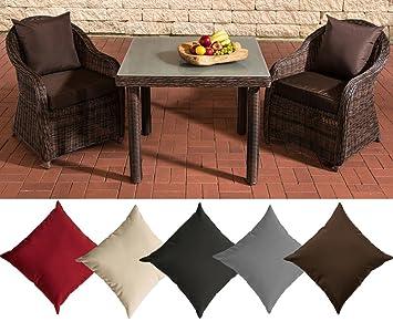 CLP Polyrattan Sitzgruppe SAN JUAN, braun-meliert, Milchglas, 3 Tischgrößen wählen (2 Stuhle INKL. bequemen Sitzauflagen + Esstisch) Kissenfarbe: Terrabraun, 100 x100 cm