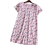 Amoy-Baby Women's Cotton Blend Pink Fox Floral Nightgown Casual Nights L XTSY001