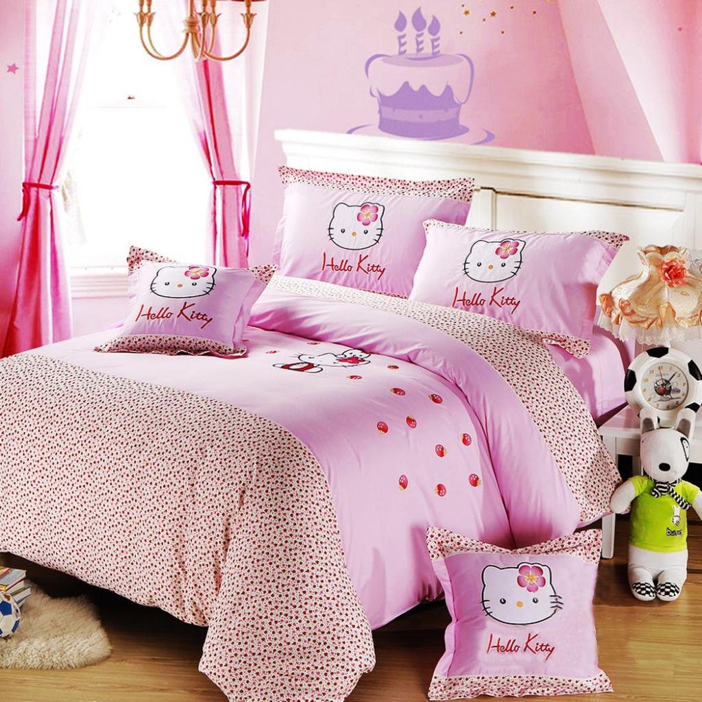 MBM (TM) Hello Kitty Bedding Sets,Lovely Kitty Bedding Sets,Kids Bedding,Strawberry Bedding,Cute Cartoon Bedding Sets,Queen Size large pink strawberry fruit hello kitty