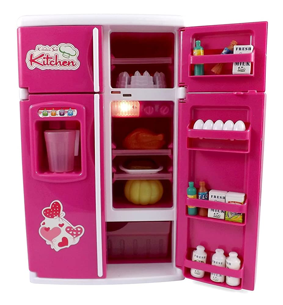 Dream kitchen refrigerator pink toy fridge playset for for Toy kitchen set