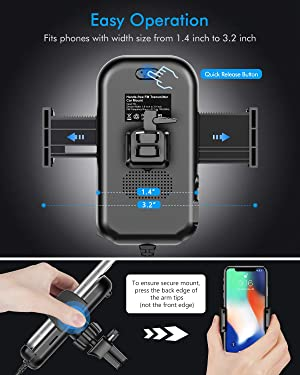 Tecboss Bluetooth FM Transmitter for Car, Latest Car Phone Holder Radio Bluetooth Adapter, Easy Attached to Air Vent, Supports Music Streaming, Enhanced Bass, Wireless Hands Free Car Kit - KM21 (Color: Black)