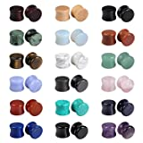 Evevil Wood Mixed Stone Plugs 18 Pairs/36 Pieces Set 1/2