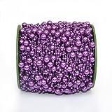 Grace Florist 98 Feet Fishing Line Artificial Pearls Beads Garland Chain for Flower Garland Wedding Decoration & DIY Bridal Bouquet(8+3mm) (Purple) (Color: purple)