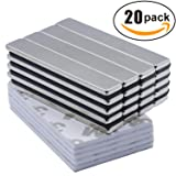 Powerful Neodymium Bar Magnets, Rare-Earth Metal Neodymium Magnet - 60 x 10 x 3 mm, Pack of 20