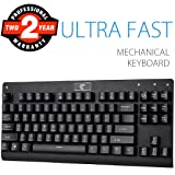 Mechanical Gaming Keyboard, Aitalk 87 Keys Anti-ghosting Waterproof Tenkeyless Keyboard with Blue Switches Easy Access Media Keys Wired Keyboard for Mac PC Gamers and Typists (Black)