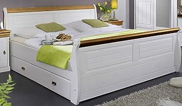 Bett 'Mailand-Honig' 180x200cm Kiefer weiß