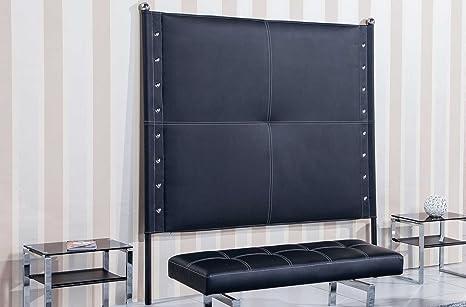 Cabecero tapizado de 160 cm para cama matrimonio modelo NIRVANA color negro - Sedutahome