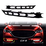 KE-KE Arrow Full LED White DRL Daytime Running Light/Amber Dynamic Sequential Turn Signal For 2017 2018 2019 Mazda CX-5 CX5 accessories (Color: Single row of arrows)