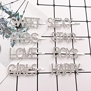 Messen Bling Letters Bobby Hair Pins Headwear Luxury Crystal Rhinestones Hair Clips for Women Girls Sparkle Hair Barrette Tools Hair Accessories (8 Pieces,LOVE/SEXY/BOYS/GIRLS/SWEET/HAPPY/KISS/STAR) (Color: Sliver Letters Bobby Pins (Crystal Rhinestones 8 PCS))